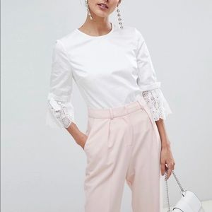 Ted Baker Frolta Broderie bell sleeved cotton top